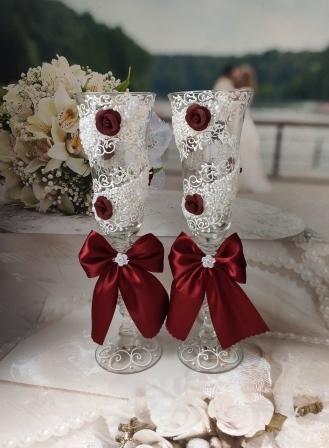 свадебные бокалы бордовые марсала купить сегоня 6:09