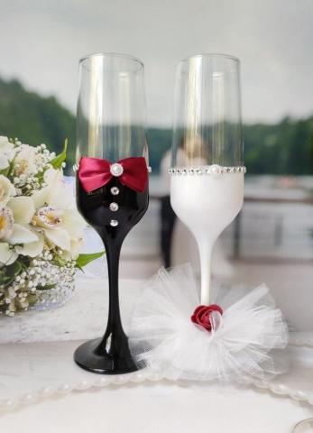 свадебные бокалы марсала бордовые фото