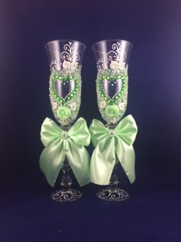 свадебные бокалы мятные фото