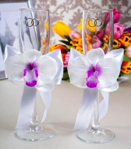 свадебные бокалы белые орхидеи купить