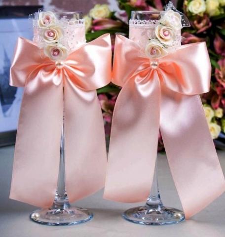 свадебные бокалы персиковые купить