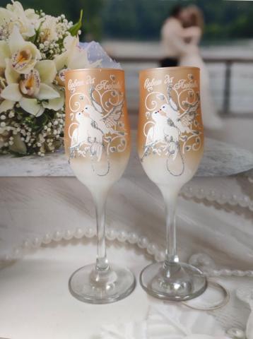 персиковые свадебные фужеры фото