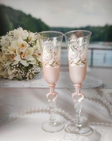 свадебные бокалы пудровые, бежевые