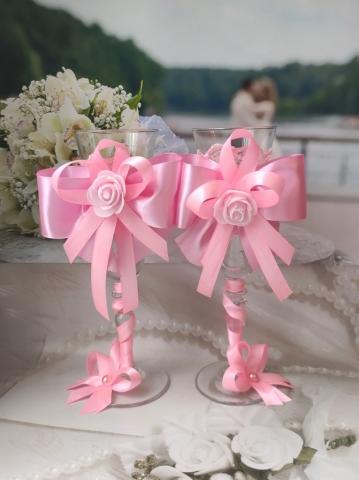 розовые свадебные бокалы ручной работы фото