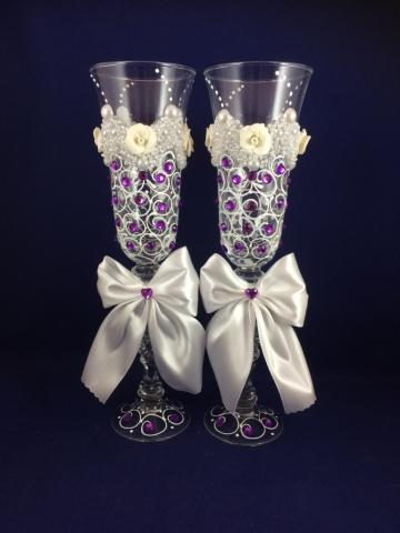 свадебные бокалы с фиолетовыми стразами фото sale-svadba.ru