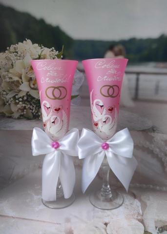 розовые бокалы слеедями ручная роспись фото