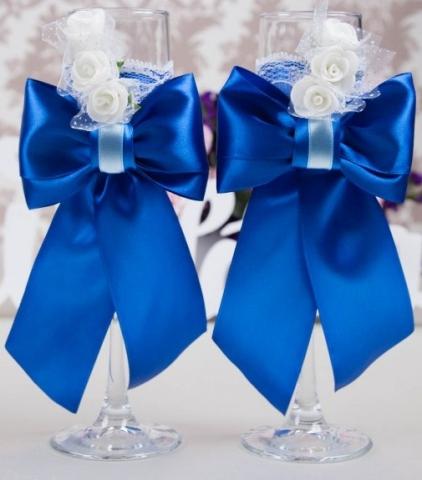 свадебные бокалы синие ручной работы фото