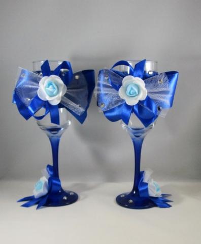 синие бокалы на свадьбу фото