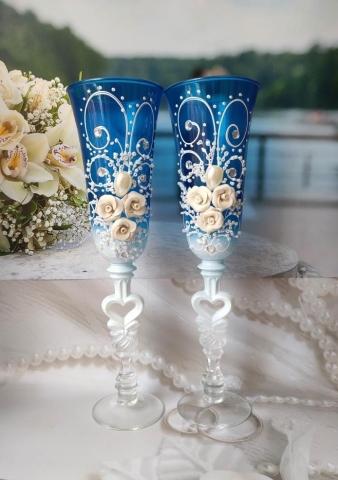 синие фужеры на свадьбу купить