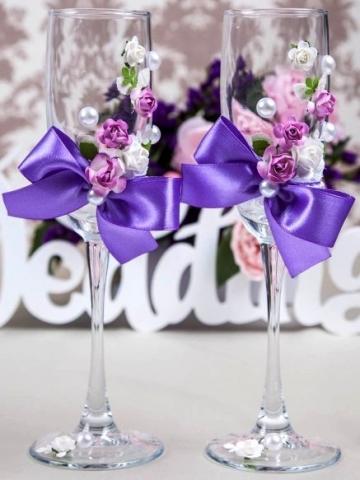 свадебные бокалы сиреневые фото