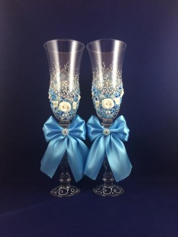 бокалы свадебные голубые фото