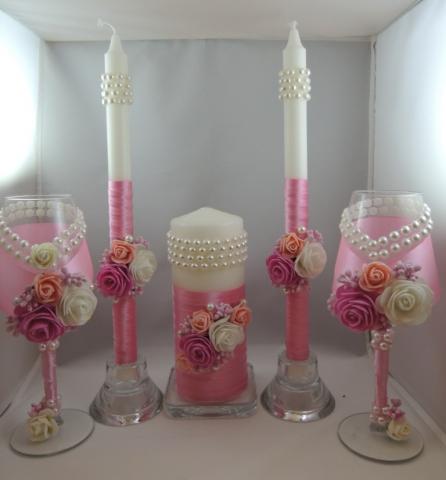 свадебные бокалы ручной работы розовые купить