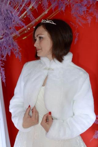 свадебная шубка с воротником стойкой купить