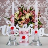 красно-белые свечи на свадьбу