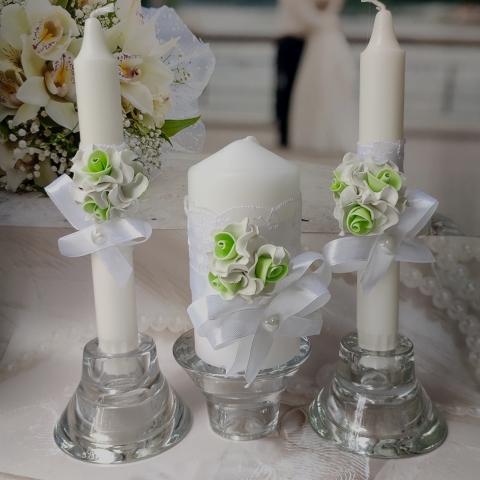 свечи мятно-белые фото