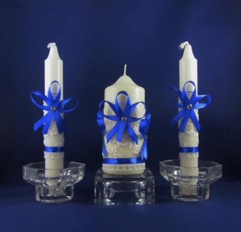 свадебные свечи синие купить