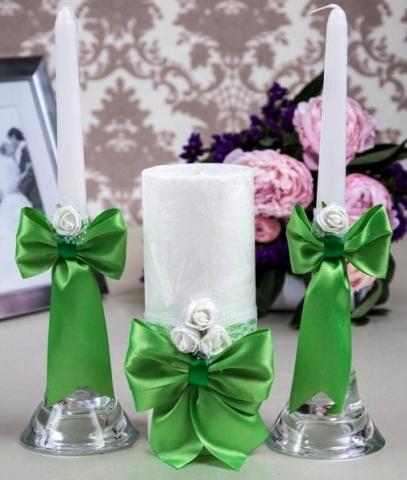 свадебные свечи зеленые купить