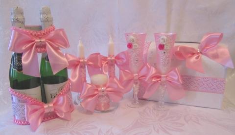 свадебные наборы розовые купить