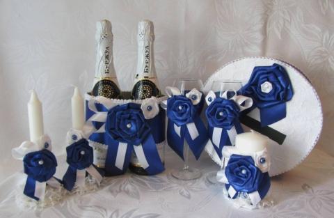 синие свадебные наборы фото