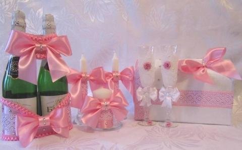 свадебный набор розовый фото