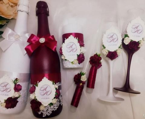 свадебный набор дизайнерский марсала премиум фото