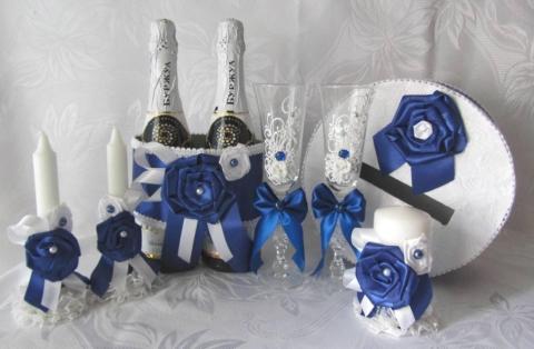сине-белая свадьба украшения фото