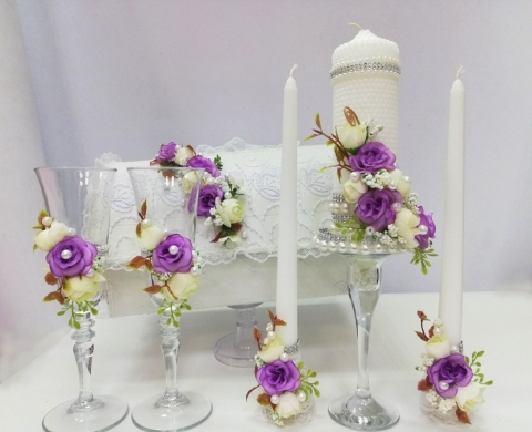 сиреневые пионы свадебные украшения купить