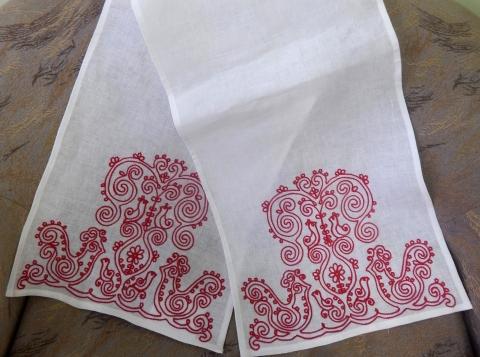 льняной рушник на свадьбу с вышивкой друво, птицы счастья