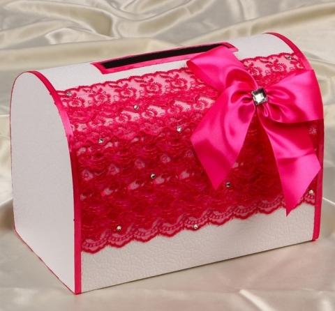 свадебная коробка для денег малиновая фото
