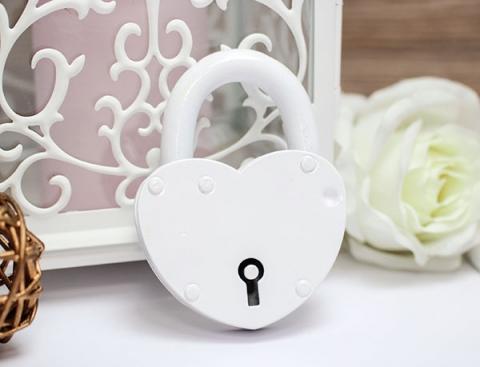 свадебный замочек белый сердце
