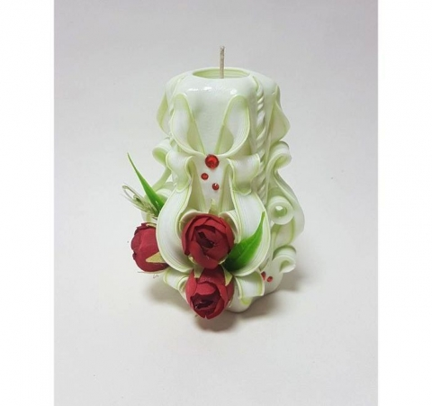 свеча резная бело-салатовая с бордовыми розами