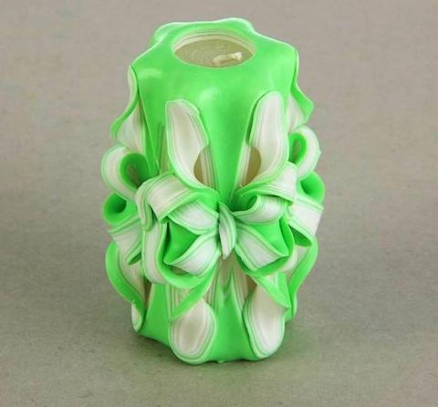 свеча очаг резная ручной работы зеленая фото