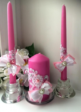 свечи очаг ярко-розовые