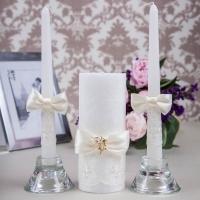 свечи айвори с брошками