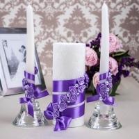 фиолетовые свадебные свечи купить