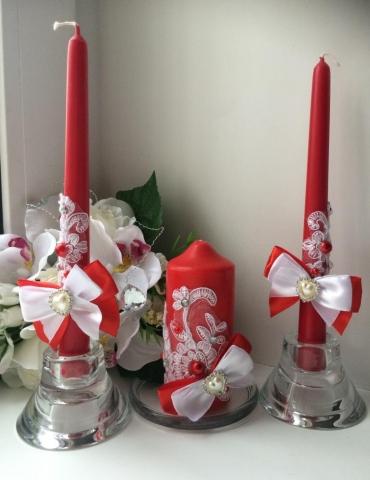 свечи очаг красные