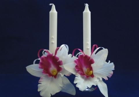 свечи родителям с белой орхидеей