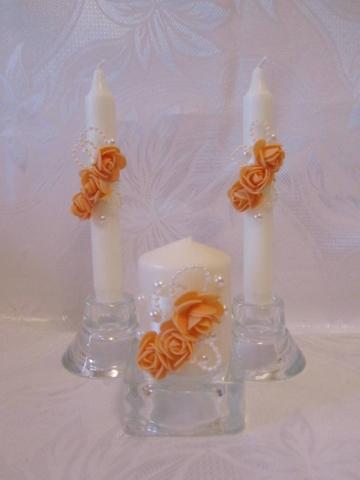 оранжевые свадбные свечи фото
