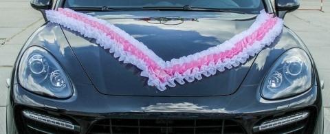 лента на капот бело-розовая