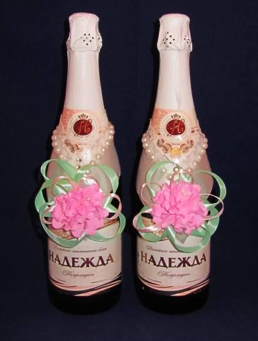 украшение на шампанское мятно-розовое купить