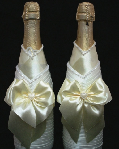 украшение на шампанское айвори фото