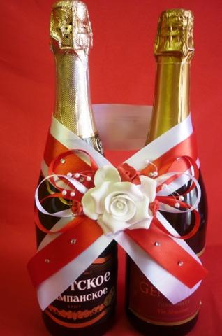 красное украшение на свадебное шампанское купить