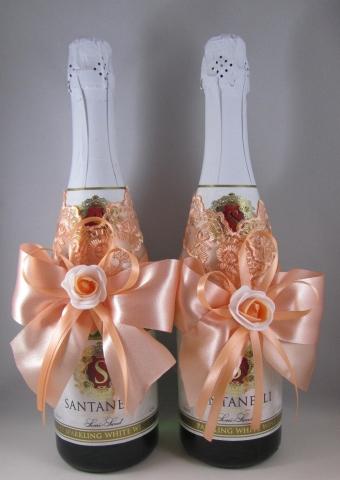 персиковое украшение для шампанского купить