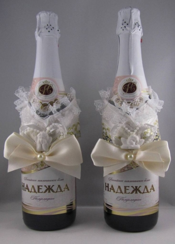 украшения на шампанское на свадьбу золотистые купить