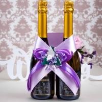 красивый сиреневый бант на шампанское фото