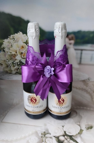 фиолетовое свадебное шампанское фото