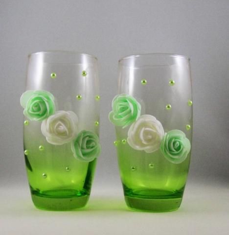 вазочки на свадьбу купить зеленые