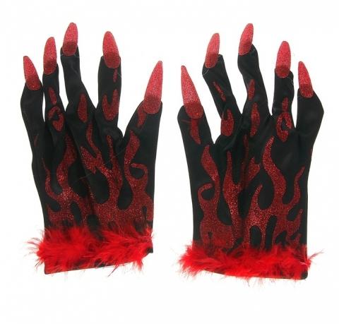 перчатки с когтями черные, перчатки с когтями красные
