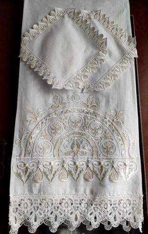 свадебный рушник вышитый айвори хлопок