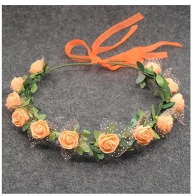 веноччек из персиковых роз на голову фото